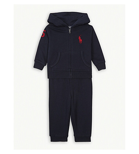 RALPH LAUREN Flag logo cotton-blend tracksuit 3-24 months (Hunter+navy