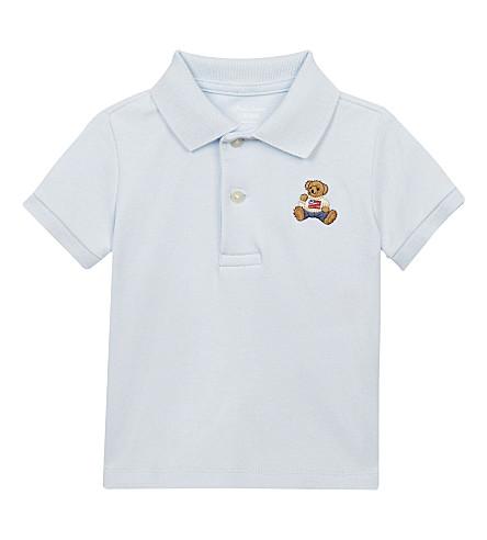 RALPH LAUREN Bear cotton polo shirt 3-18 months (Beryl+blue