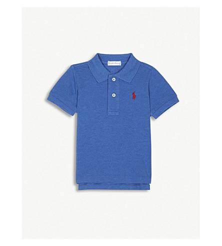 RALPH LAUREN Embroidered logo piqué cotton polo shirt 3-24 months (Blue+heather