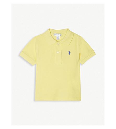 RALPH LAUREN Embroidered logo piqué cotton polo shirt 3-24 months (Beekman+yellow