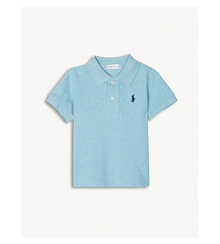 RALPH LAUREN Embroidered logo piqué cotton polo shirt 3-24 months (Aqua+heather