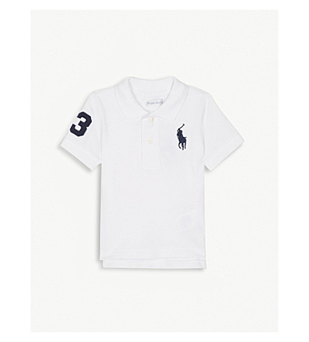 RALPH LAUREN Embroidered logo cotton polo shirt 3-24 months (White