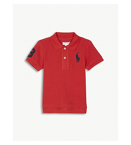 RALPH LAUREN Embroidered logo cotton polo shirt 3-24 months (Deep+orangey+red
