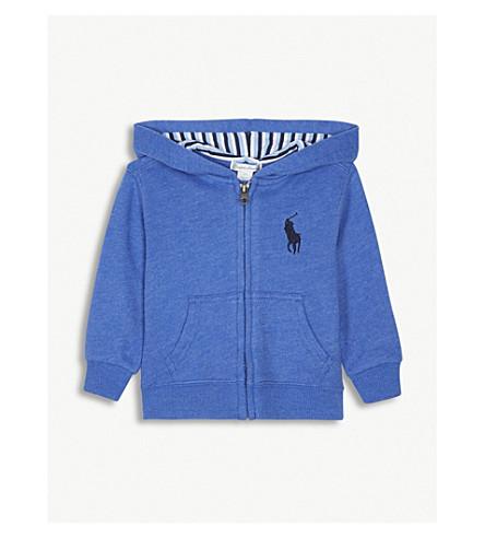 RALPH LAUREN Embroidered logo zip-through cotton-blend hoody 3-24 months (New+iris