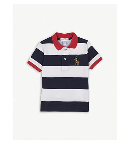 RALPH LAUREN Striped cotton polo shirt 3-24 months (Newport+navy