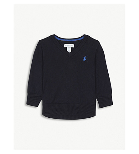 RALPH LAUREN V-neck brand logo cotton jumper 3-24 months (Hunter+navy