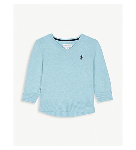 RALPH LAUREN Embroidered logo V-neck cotton jumper 3-24 months (Aqua+heather