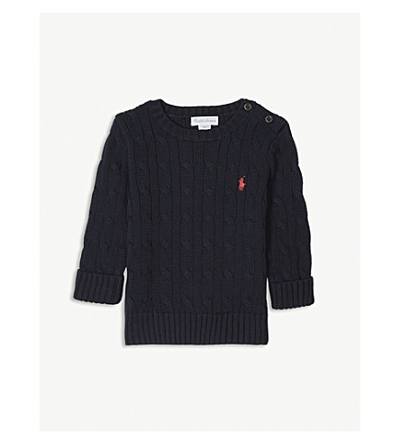 RALPH LAUREN Cable knit crew neck jumper 3-24 months (Hunter+navy