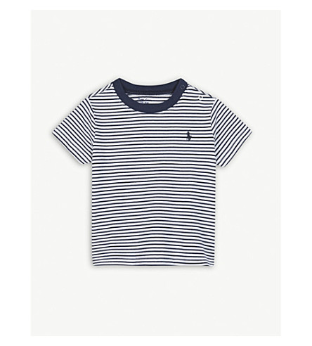 RALPH LAUREN Logo striped cotton t-shirt 9-24 months (Navy/white