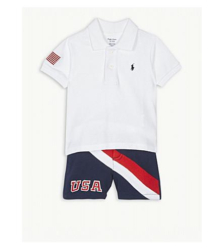 880a5b02c RALPH LAUREN - USA cotton polo shirt and shorts set 3-24 months ...