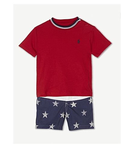 RALPH LAUREN Stars and stripes cotton T-shirt and shorts set 3-24 months (Rl 2000 red