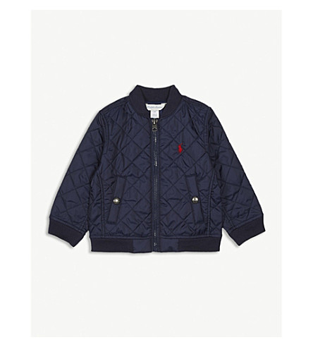 RALPH LAUREN Quilted baseball jacket 3-24 months (Newport+navy