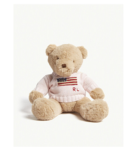 RALPH LAUREN Flag logo teddy bear 19cm (French+pink