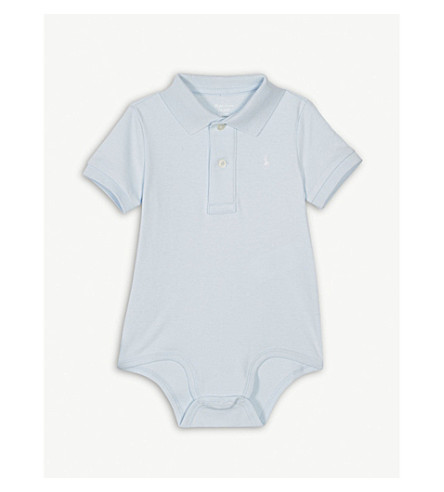 RALPH LAUREN Polo cotton bodysuit 0-12 months (Beryl+blue