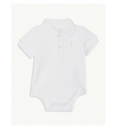 RALPH LAUREN Embroidered logo cotton body suit 0-12 months (White