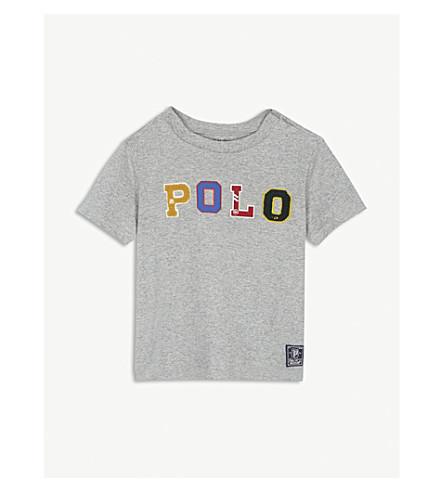 RALPH LAUREN Textured logo cotton T-shirt 3-24 months (Andover+heather