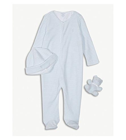 RALPH LAUREN Bodysuit, hat and teddy bear set 3-24 months (Beryl+blue/white