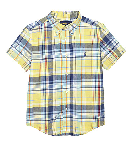 RALPH LAUREN Checked cotton short-sleeved shirt 2-7 years (Yellow/green+mu