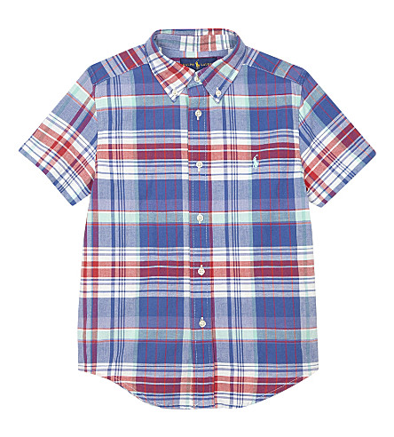 RALPH LAUREN Check print cotton short-sleeved shirt 2-7 years (White/green+mul