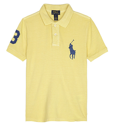 RALPH LAUREN Embroidered logos cotton polo shirt 2-7 years (Banana+peel