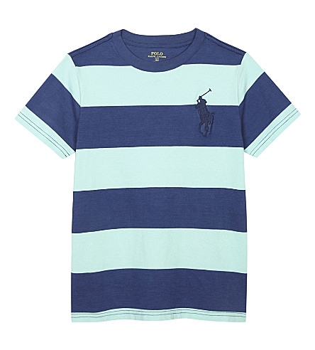 RALPH LAUREN Big Pony striped cotton T-shirt 2-7 years (Bayside+green+m