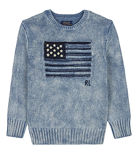 RALPH LAUREN Flag cotton sweatshirt 2-7 years (Light+indigo