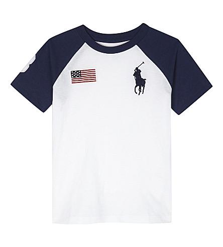 RALPH LAUREN Big embroidered logo T-shirt 2-7 years (White
