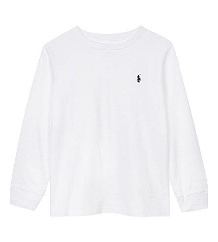 RALPH LAUREN Logo cotton long-sleeved top 2-7 years (White