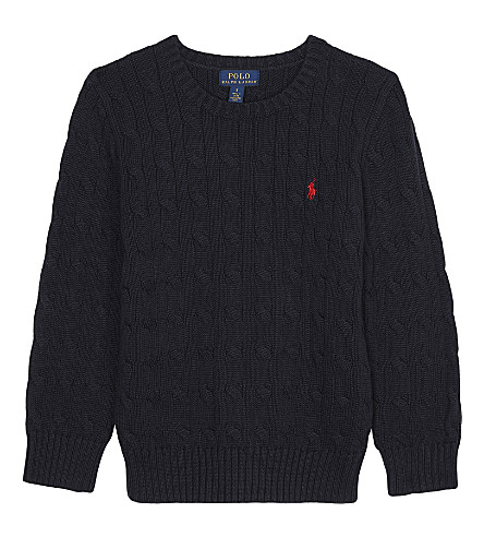 RALPH LAUREN Embroidered logo cable knit cotton jumper 2-6 years (Hunter+navy