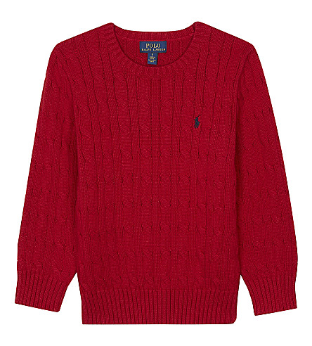RALPH LAUREN Embroidered logo cable knit cotton jumper 2-7 years (Martin+red