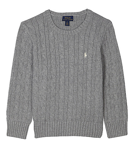 RALPH LAUREN Embroidered logo cable knit cotton jumper (Andover+heather