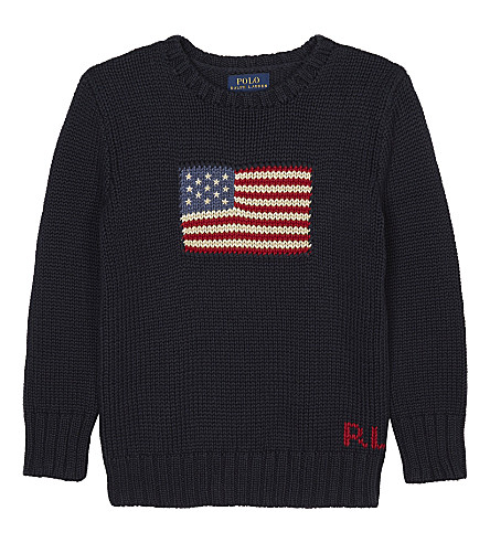 RALPH LAUREN Flag motif knitted jumper 2-7 years (Hunter+navy