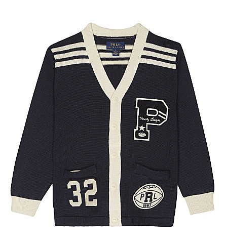 RALPH LAUREN Varsity cotton cardigan 2-7 years (Hunter+navy