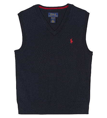 RALPH LAUREN Polo knitted vest 2-7 years (Hunter+navy