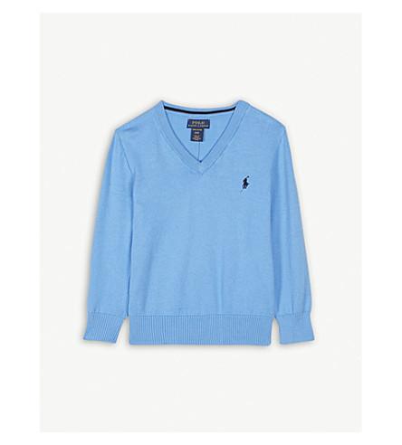 RALPH LAUREN V-neck pima cotton jumper 2-4 years (Florida+blue