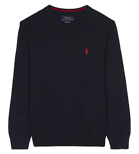 RALPH LAUREN Logo long-sleeved cotton jumper 2-7 years (Hunter+navy