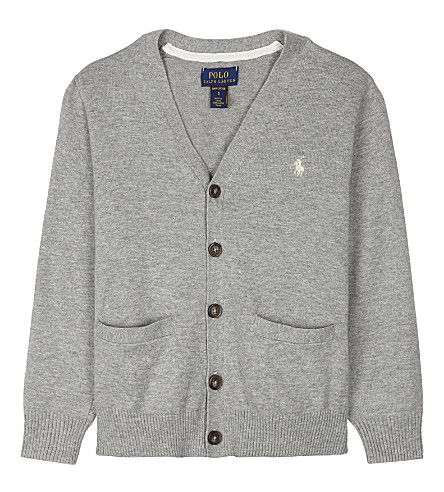 RALPH LAUREN V-neck cotton cardigan 2-7 years (Andover+heather
