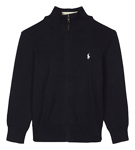 RALPH LAUREN Zip-through knitted cotton cardigan 2-7 years (Hunter+navy