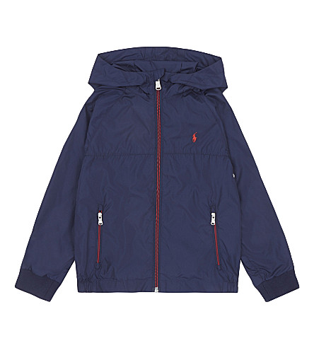 RALPH LAUREN Embroidered logo hooded windbreaker jacket 2-7 years (French+navy