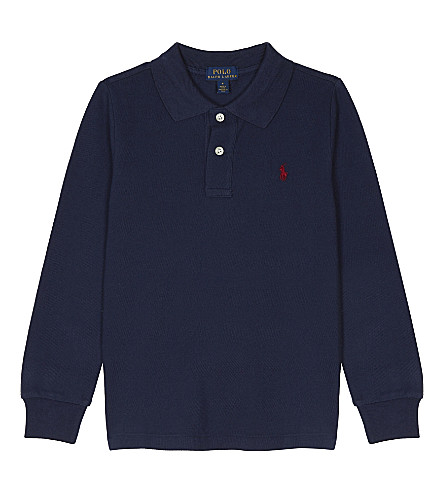 RALPH LAUREN Logo cotton polo shirt 2-7 years (Newport+navy