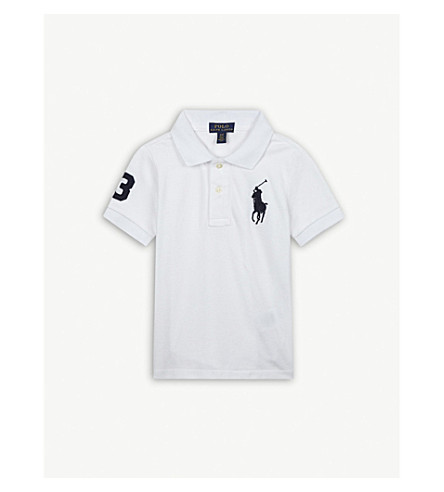 RALPH LAUREN Oversize logo cotton polo shirt 2-4 years (White