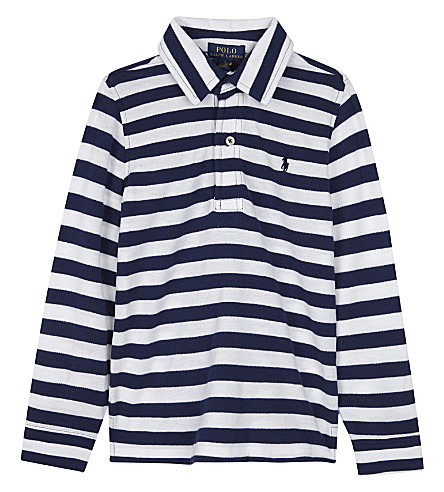 RALPH LAUREN Striped long-sleeve polo shirt 2-7 years (Freshwater+blue