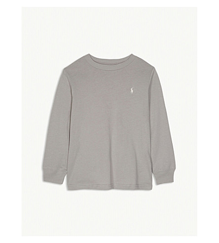 RALPH LAUREN Logo long-sleeved cotton top 2-7 years (Soft+grey