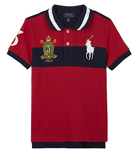 RALPH LAUREN Embroidered crest cotton polo shirt 2-7 years (Signal+red