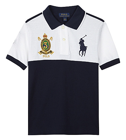 RALPH LAUREN Embroidered crest cotton polo shirt 6-14 years (White