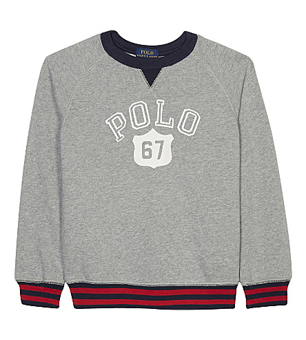 RALPH LAUREN Logo print cotton jumper 2-7 years (Andover+heather