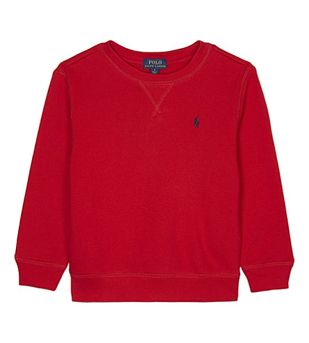 RALPH LAUREN Embroidered logo cotton-blend jumper 2-7 years (Rl+2000+red