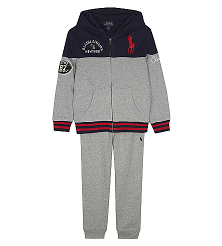 RALPH LAUREN Patch detail cotton tracksuit set 2-7 years (Andover+heather