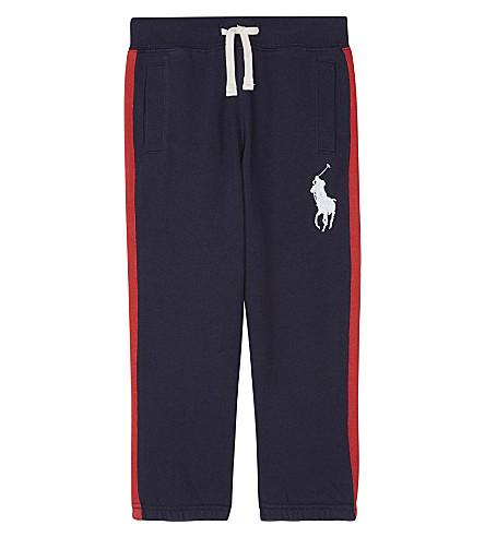 RALPH LAUREN Striped trim cotton jogging bottoms 2-7 years (French+navy