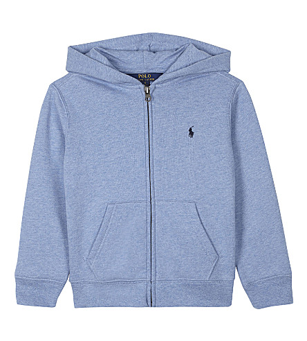 RALPH LAUREN Embroidered logo cotton zip-through hoody 2-7 years (Campus+blue+hea